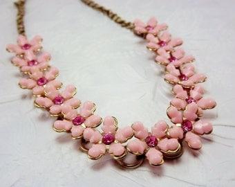 Pink Flower Necklace, Statement Necklace, Rhinestone Flower Choker, 1950's Costume Jewelry