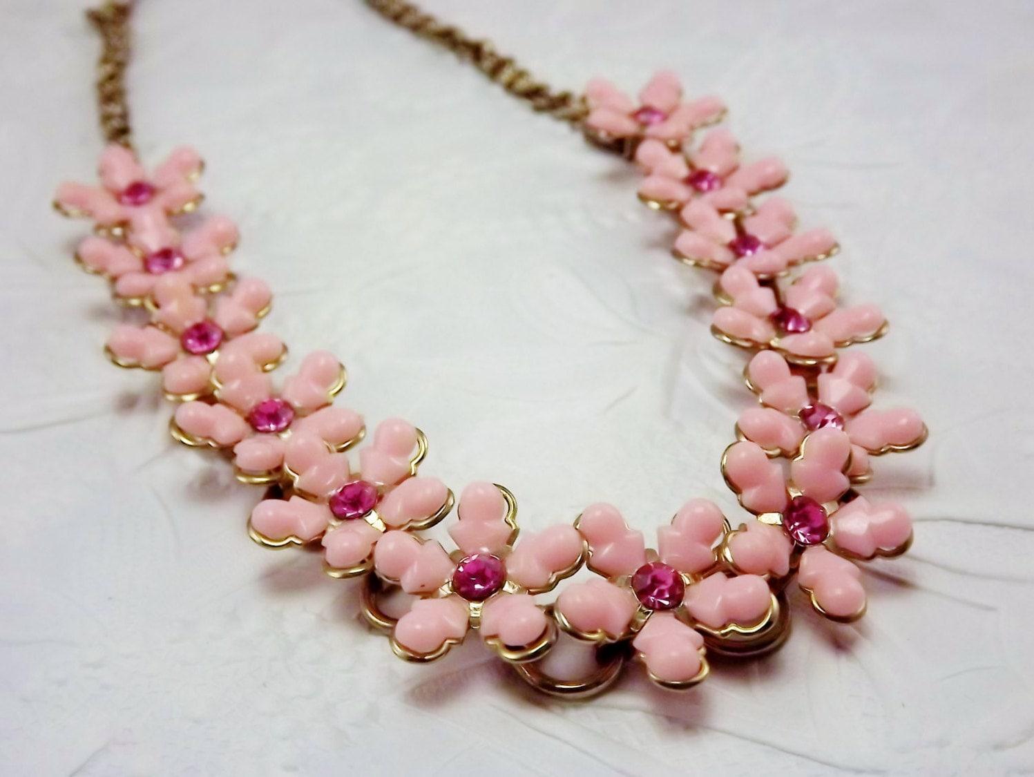 Pink Flower Necklace Statement Necklace Rhinestone Flower