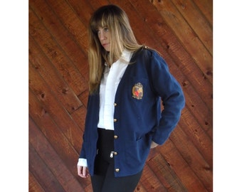 Navy V-Neck Cardigan with Crest Embroidery - Vintage 90s - S/M