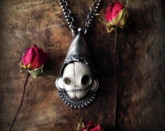 skull necklace, sterling silver, post industrial skull necklace, skull jewelry,  Mark Yasenchack skull, primitive, ready to ship