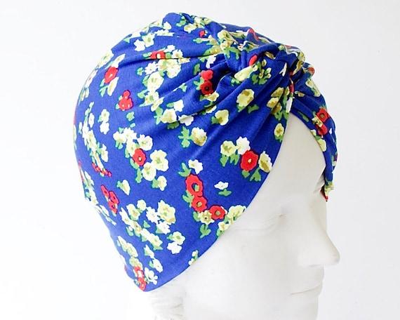 Flower Turban Hat 1940s Hat Spring Fashion Chemo Cap Skullcap Beach Hair Wrap Head Scarf Head Wrap Blue Floral Turban Hat Stretch Turban
