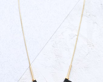 Stones Necklace,  Black Statment Necklace, Stone Beads Necklace, Signiture Necklace, Gold and Black Necklace, Geometric Necklace