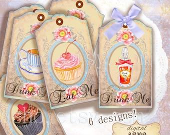 SALE Alice in Wonderland eat me drink me Tags, Digital Collage Sheet, Instant Download,printable images,Cupcake, Cupcake tags, cupcake tag