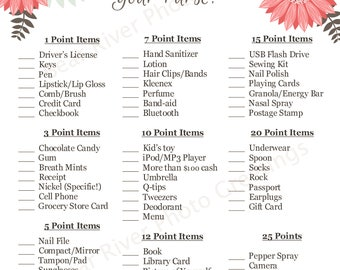 Instant Download - What's In Your Purse Shower Game - Flowers - Printable PDF