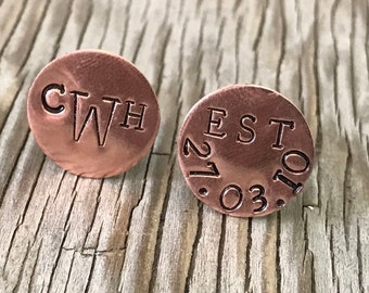 Personalized cuff links Father's Day gift custom copper mens jewelry accessories wedding party groom 7th anniversary accessories handmade