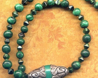 Malachite Necklace, Tibetan Sterling Silver Focal Point Necklace, Emerald Green 925 silver necklace, Nepal Copal Green Necklace by Annnaart