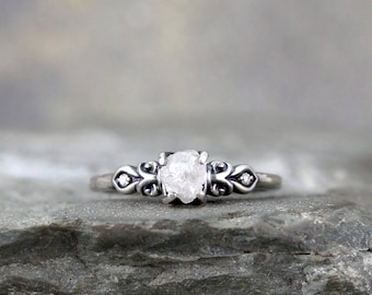 Rough Diamond Engagement Ring with Brilliant Cut Diamond Accents - Antique Inspired Ring - Sterling Silver - Uncut Raw Gemstone Rings