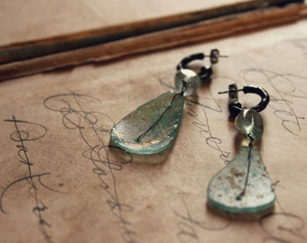 Daydreamer Earrings. Rustic Ancient Roman Glass, Flourite and Antiqued Brass Bohemian J Hoop Earrings.