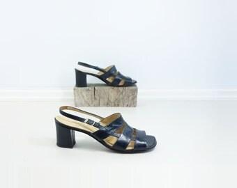 70s Strappy Sandal 70s Vintage Sandal 70s Indigo Heel Size 9 Heels Dark Navy Blue Heel Size 9 Sandal 70s Chunky High Heel Leather Sandal 9.5