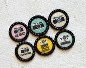 Photographer Gift- Camera Bottlecap Magnets- Photography Magnets- Camera Gift- Vintage Camera- Photography Gift- Camera Decor- Retro Camera
