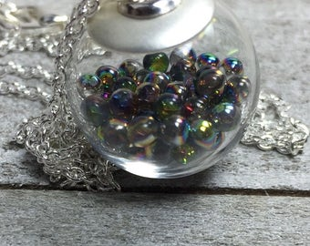 Double Bubble Collection - Glass Bubble Necklace Vitrial Mysterious Marbles Dark Mullti Color Hand Blown Round Orb Globe Pendant Necklace