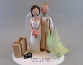 Bride & Groom Custom Travel Theme Wedding Cake Topper - reserved for stephaniefrance28