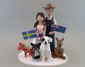 Bride & Groom with Pets Customized Wedding Cake Topper - reserved for andreahertzberg1