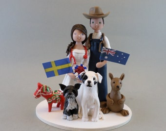 Unique Cake Toppers - Bride & Groom with Pets Customized Wedding Cake Topper
