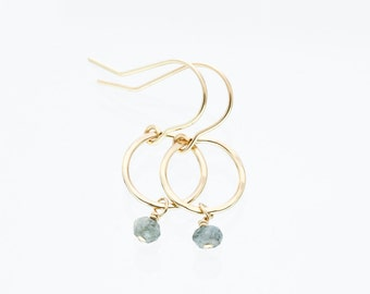 Aquamarine earrings - gold circle earrings - minimalist earrings - dainty gold earrings - blue gemstone earrings - delicate gemstone jewelry