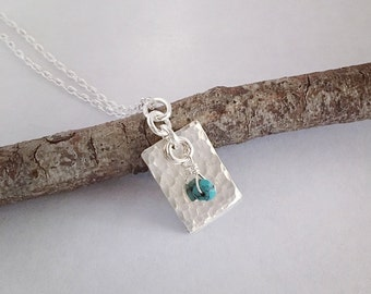 Small Turquoise Pendant / Silver Hammered Necklace / Small Hammered Necklace / Turquoise Hammered Pendant / Silver Handmade Jewelry