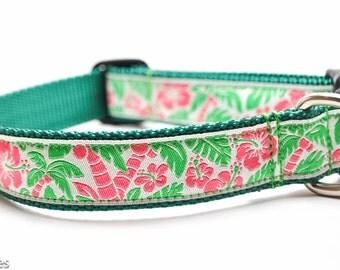 Hawaiian Flower Dog Collar / Island Dog in Green
