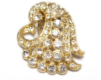 VINTAGE Dress CLIP Art DECO Rhinestone Shoe Fur Scarf Pin Brooch Pendant Cornucopia Pot Metal Gold 1930s Wear Antique Jewelry Restored
