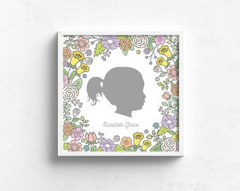 custom silhouette print, personalized nursery art, silhouette portrait, silhouette drawing, floral nursery art, frame not included