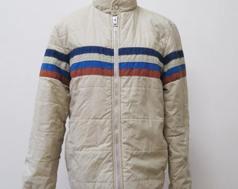 Warm vintage London Fog beige tan jacket with three stripes