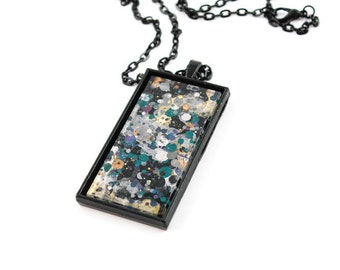 Splatter Painting Pendant - Abstract Art Glass Black Rectangle Necklace - Black, Gray, Teal - One-of-a-Kind Jewelry Gifts for Her