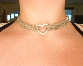 Tiffany & Co. Sterling Silver Multi Chain Mesh Necklace Heart and Toggle
