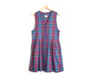 Size S/M // PLAID JUMPER // Sleeveless - Red & Blue - Button-Front Dress - V-Neck Pinafore - Pockets - Vintage '80s.