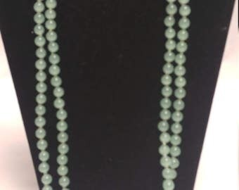 Seafoam Jade Green Necklace with 14K Gold Lobster Clasp Excellent Quality Double Strand #B295 SALE