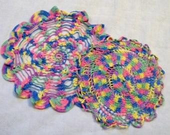 Doilies, colorful doily, Vintage Doily, Crocheted Doily, Set of Doilies, Mutil Colored, Vintage Linens