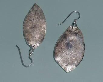 Asymmetrical Leafy Pure Silver Drop Earrings