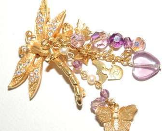 KIRKS FOLLY Dragonfly and Butterfly Brooch
