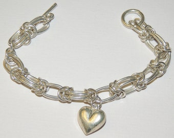 Sterling Silver Heart Multi link Toggle closure Bracelet 8 inch 32.4 grams