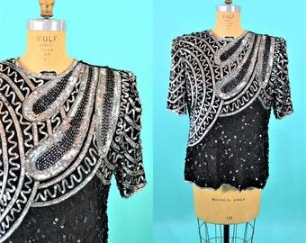 1980s blouse | vintage black silver sequin top | short sleeve silk 80s top L