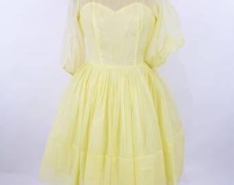 1950s party dress | AS IS yellow sheer sleeve cocktail full skirt dress | vintage 50s dress | W 27""