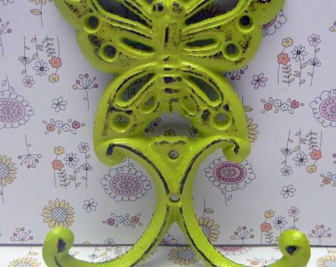 Butterfly Cast Iron Wall Hook Green Shabby Chic Nursery Spring Summer Home Decor