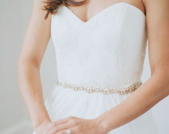 Pearl Bridal Belt | Gold Crystal Wedding Sash | Rhinestone Sash Belt | Wedding Dress Sash | Thin Bridal Sash | Skinny Gold Belt [Pippa Belt]