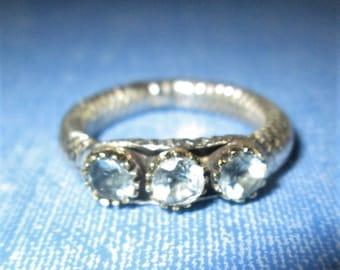 RING - Triple -  Blue TOPAZ  - PATTERNED Band - Ornate - 925 - Sterling Silver - size 7 1/2  blue199