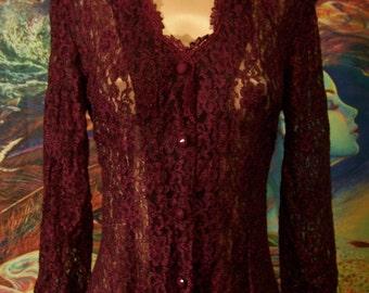 Lace Dress, 80s Lace dress, Garnet Lace dress, Violet Lace dress, Lace maxi dress, S