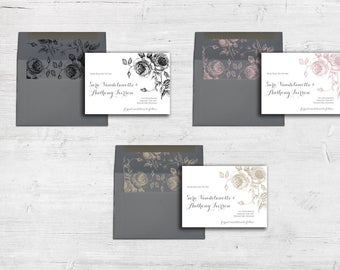 Sketched Roses Save The Date Cards and Envelopes