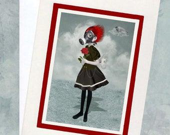 Steampunk Greeting Card - Blank Greeting Card & Envelope - Gas Mask Girl Holding Rose - Inhale