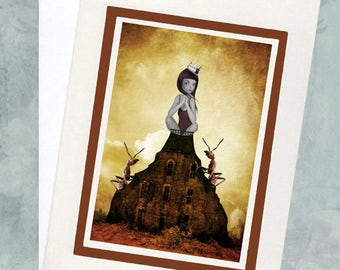 Lowbrow Greeting Card - Greeting Card & Envelope  - Girl And Red Ants - King Of The Castle