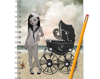 Sailor Girl Notebook - Handmade Journal - Sailor Girl Journal - LINED OR BLANK pages, You Choose