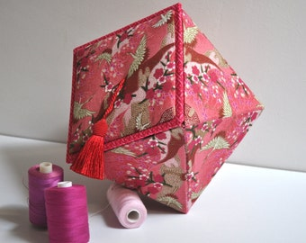 Hand Made Keepsake Origami Box -  Japanese Cranes - Fabric Covered Storage Box - Cartonnage  - Gift Box - Sewing Gift