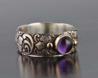 amethyst and 14k gold and sterling silver ring, dogwood pattern, sterling silver and 14k gold, purple amethyst, February birthstone