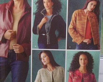 Threads Magazine Misses' Jacket Pattern Simplicity 4328 Sewing Pattern, High Fashion Lined Jacket, Sleeve Variations Size 6 - 12 UNCUT