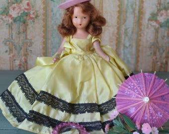 Vintage Bisque Nancy Ann Storybook Doll in Yellow Dress