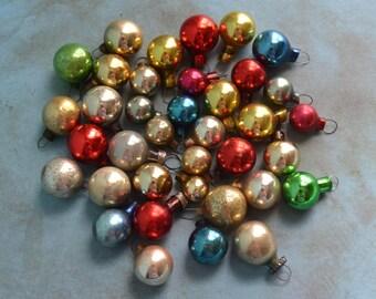 "37 Vintage Miniature Glass Christmas Ornaments 3/8"" to 5/8"""