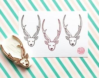 deer rubber stamp, woodland animal stamp, reindeer stamp, hand carved rubber stamp by talktothesun,  winter holiday diy crafts