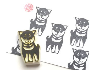 puppy dog rubber stamp. shiba inu stamp. japanese dog stamp. animal hand carved stamp. birthday crafts. gift wrapping. gift for dog lovers