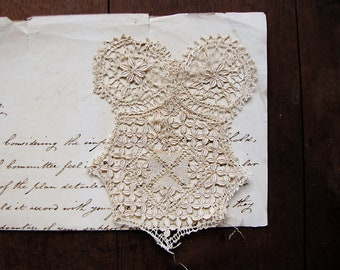 Antique handmade lace panel - 19th century motif - for collecting or textile art projects